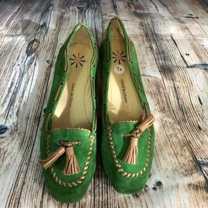 Isaac Mizrahi Green Suede Loafers